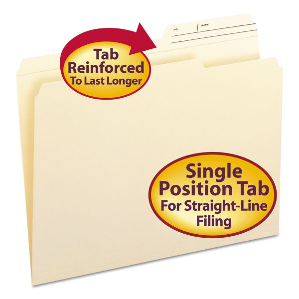 Smead 10388 Manila File Folders with Reinforced Tabs