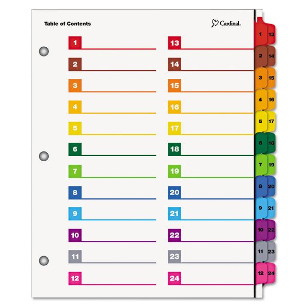 Cardinal OneStep Printable 52-Tab Numbered Dividers With Table Of Contents Page