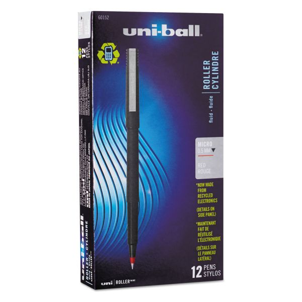 uni-ball Roller Ball Stick Dye-Based Pen, Red Ink, Micro, Dozen