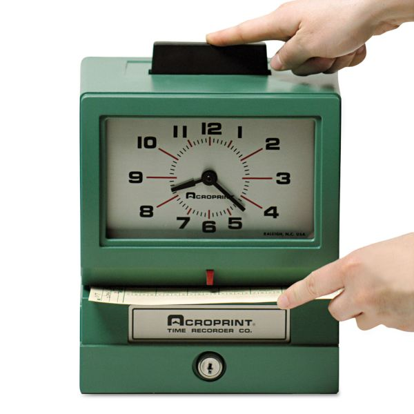 Acroprint Model 125 Analog Manual Print Time Clock with Date/0-12 Hours/Minutes