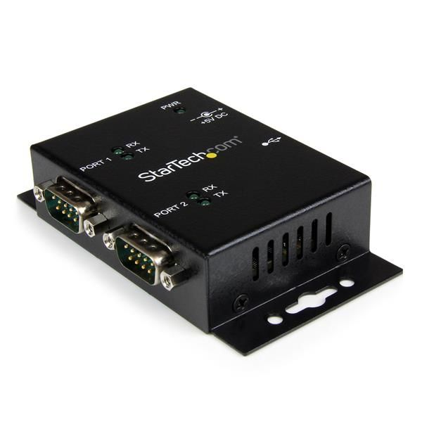 StarTech.com USB to Serial Adapter - 2 Port - Wall Mount - Din Rail Clips - Industrial - COM Port Retention - FTDI - DB9