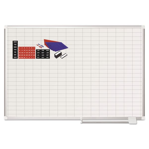 MasterVision Grid Planning Board w/ Accessories, 1 x 2 Grid, 48 x 36, White/Silver