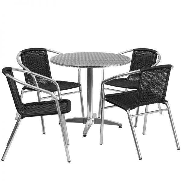 Flash Furniture 31.5'' Round Aluminum Indoor-Outdoor Table with 4 Black Rattan Chairs