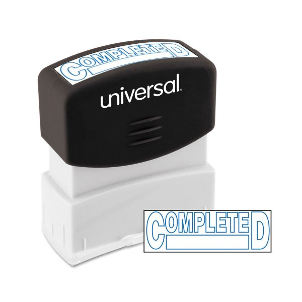 Universal One-Color Message Stamp, COMPLETED, Pre-Inked/Re-Inkable, Blue