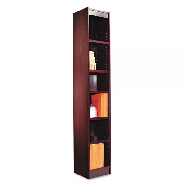 Alera Narrow Profile 6-Shelf Wood Veneer Bookcase