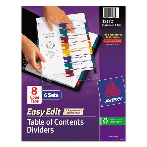 Avery Easy Edit Index 8-Tab Numbered Dividers With Table Of Contents Page