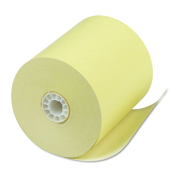 "PM Company Single Ply Thermal Cash Register/POS Rolls, 3 1/8"" x 230 ft., Canary, 50/CT"