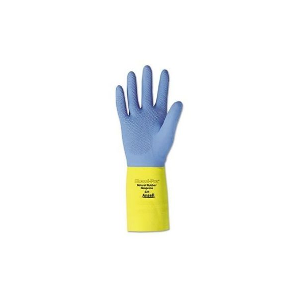 AnsellPro Chemi-Pro Neoprene Gloves, Blue/Yellow, Size 10, 12 Pairs