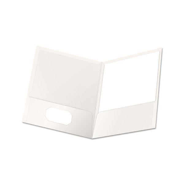 Oxford High Gloss Laminated Paperboard Folder, 100-Sheet Capacity, White, 25/Box