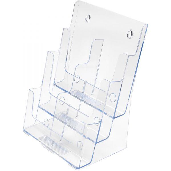 deflect-o Three-Tier Plastic Desktop Leaflet Display Rack, Clear