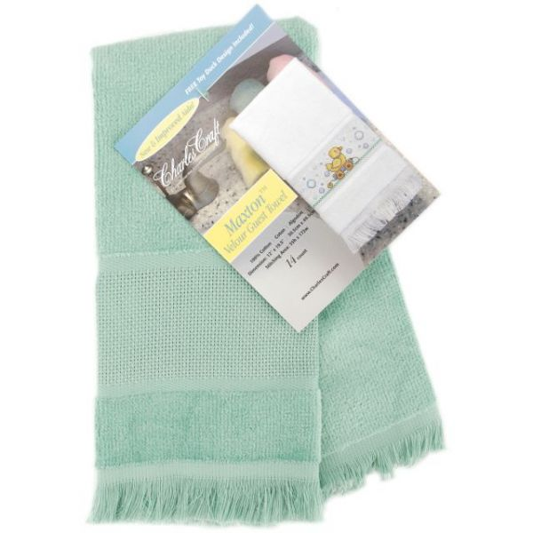 "Maxton Velour Guest Towel 14 Count 12""X19.5"""