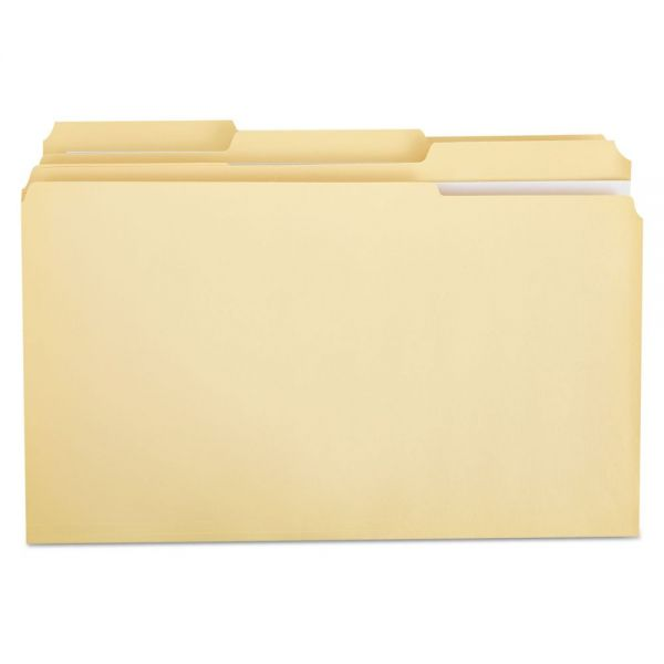 Universal File Folders, 1/3 Cut Assorted, Two-Ply Top Tab, Legal, Manila, 100/Box