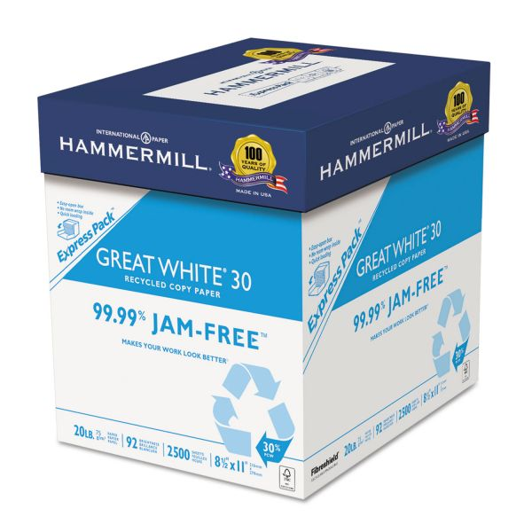 Hammermill Great White 30 Recycled White Copy Paper