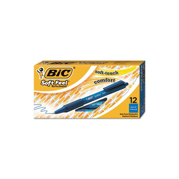 BIC Soft Feel Retractable Ballpoint Pen, Blue Ink, 1mm, Medium, Dozen