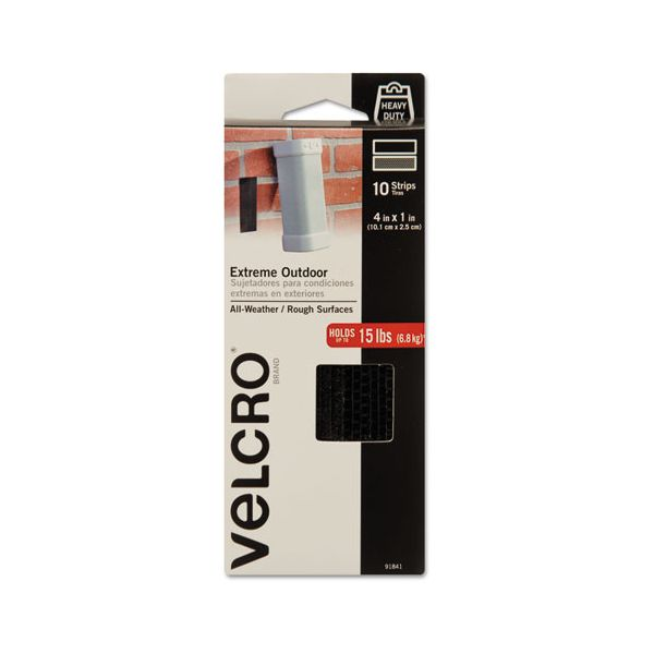 "Velcro Extreme Fasteners, 1"" x 4"", Black, 10 sets"