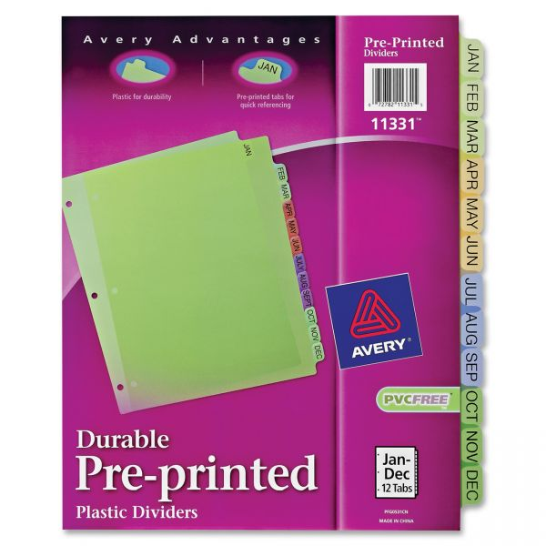 Avery Pre-printed Monthly Tab Index Dividers