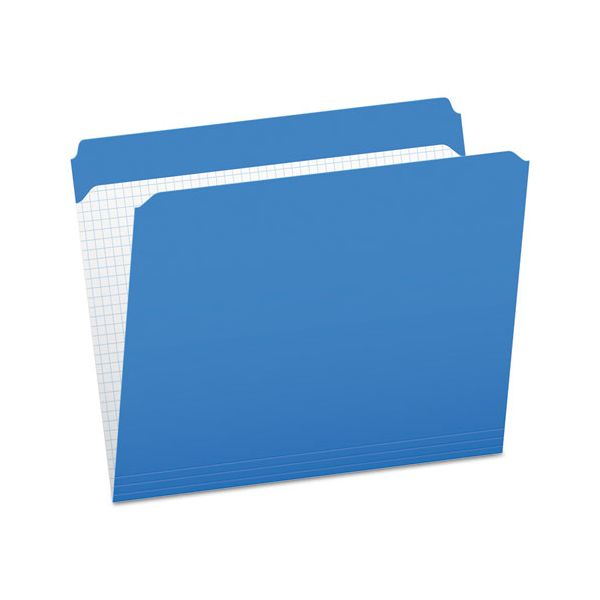 Pendaflex Reinforced Top Tab File Folders, Straight Cut, Letter, Blue, 100/Box