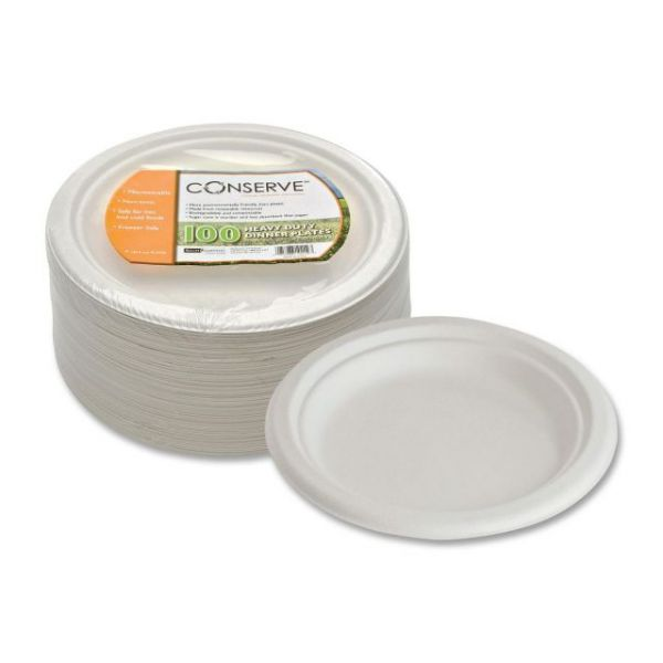 "Conserve Heavy-Duty 9"" Bagasse Dinner Plates"