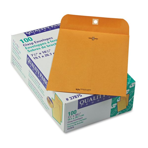 "Quality Park Gummed 7 1/2"" x 10 1/2"" Clasp Envelopes"