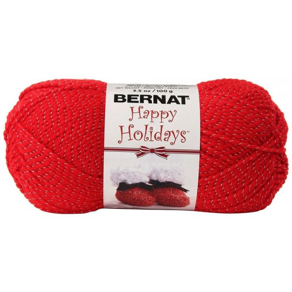 Bernat Happy Holidays Sparkle Yarn - Silvered Red