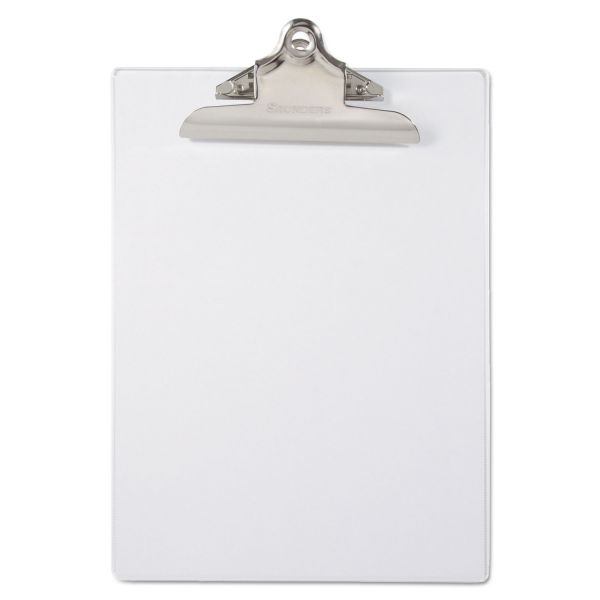 "Saunders Recycled Plastic Clipboard with Ruler Edge, 1"" Clip Cap, 8 1/2 x 12 Sheet, Clear"