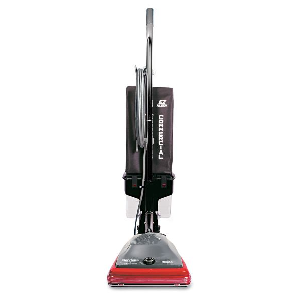 Sanitaire Commercial Lightweight Bagless Upright Vacuum, 14lb, Gray/Red