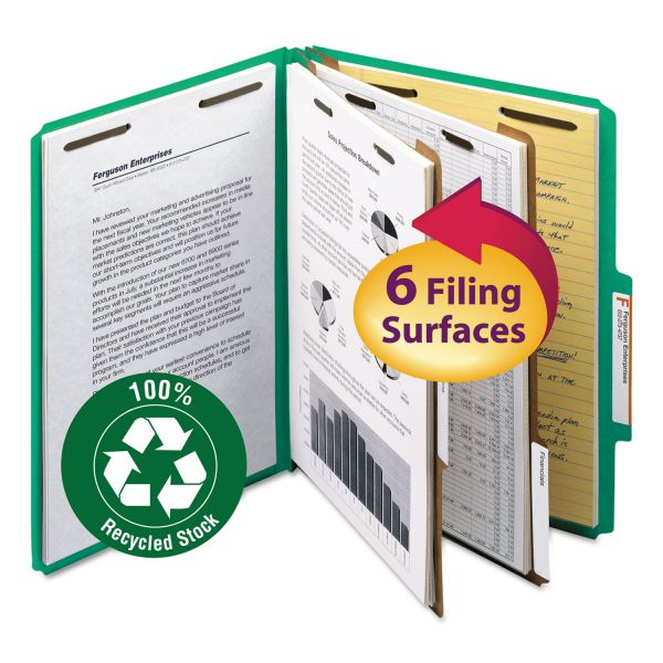 Smead 2-Divider Recycled Pressboard Classification Folders