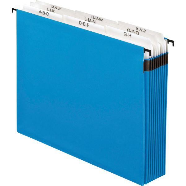 """Pendaflex Nine-Section Hanging Folder, 5 1/4"""", Tabs and Labels, 1/5 Tab, Letter, Blue"""