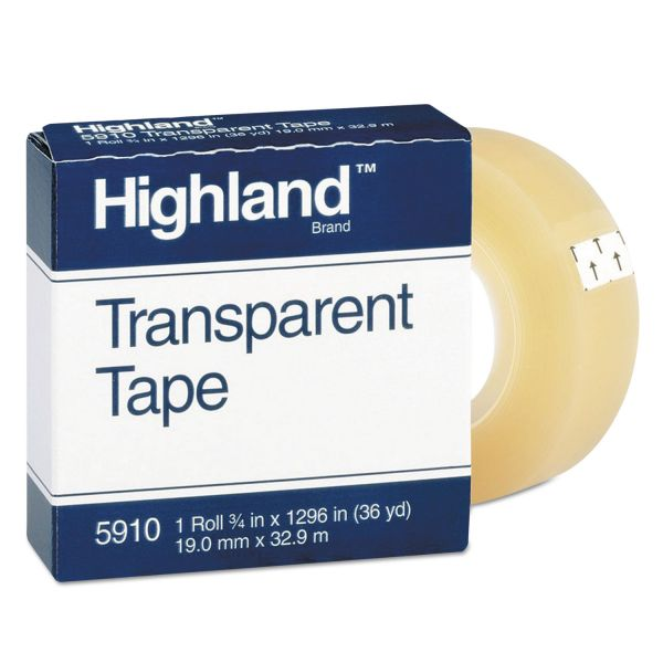 "Highland Transparent Tape, 3/4"" x 1296"", 1"" Core, Clear"