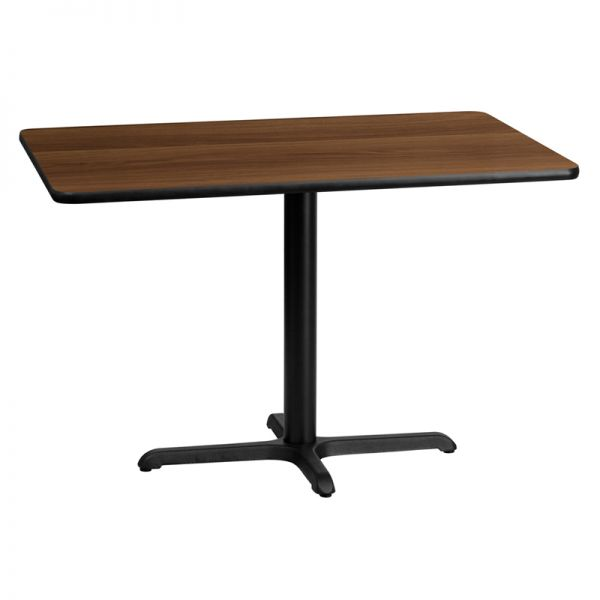 Flash Furniture 30'' x 45'' Rectangular Walnut Laminate Table Top with 22'' x 30'' Table Height Base