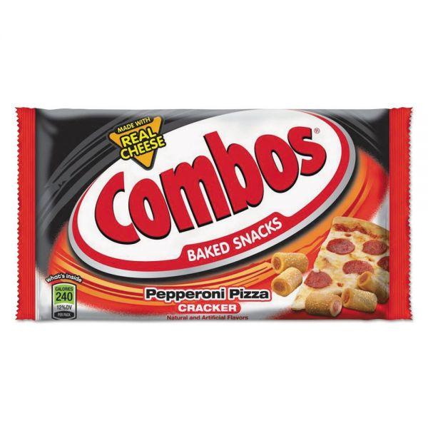 Combos Combos Baked Snacks, 6.3 oz Bag, Pepperoni Pizza Cracker, 12/Carton