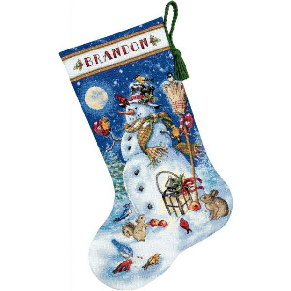 Dimensions Gold Collection Snowman & Friends Stocking Counted Cross Stitch Kit