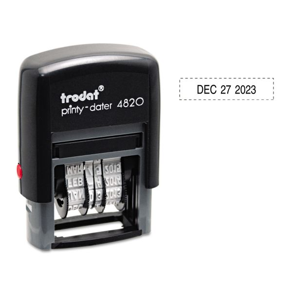 U. S. Stamp & Sign Trodat Economy Stamp, Dater, Self-Inking, 1 5/8 x 3/8, Black