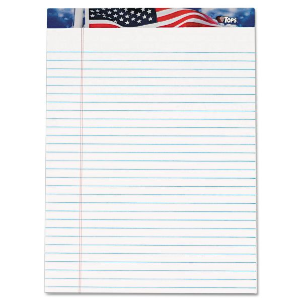 TOPS American Pride Writing Pad, Legal/Wide, 8 1/2 x 11 3/4, White, 50 Sheets, Dozen