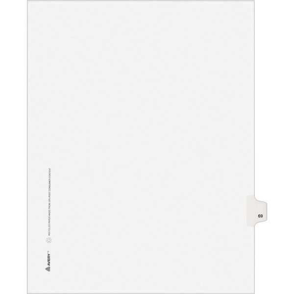 Avery-Style Legal Exhibit Side Tab Divider, Title: 69, Letter, White, 25/Pack