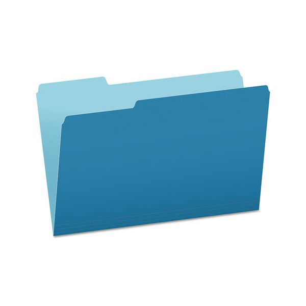Pendaflex Colored File Folders, 1/3 Cut Top Tab, Legal, Blue/Light Blue, 100/Box