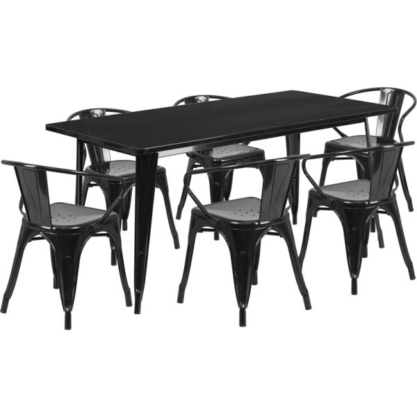 Flash Furniture 31.5'' x 63'' Rectangular Black Metal Indoor-Outdoor Table Set with 6 Arm Chairs