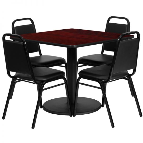 Flash Furniture 36'' Square Mahogany Laminate Table Set with 4 Black Trapezoidal Back Banquet Chairs