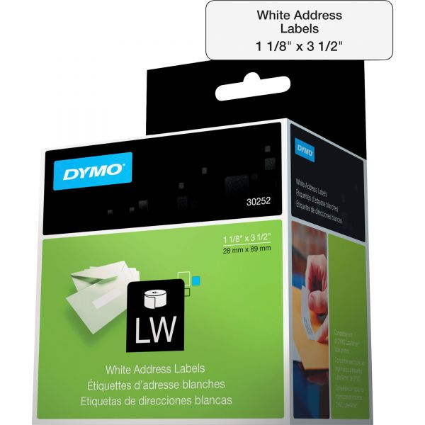 DYMO LabelWriter Address Labels, 1 1/8 x 3 1/2, White, 350 Labels/Roll, 2 Rolls/Pack