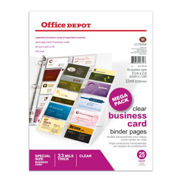"""Office Depot Brand Business Card Binder Pages, 8 1/2"""" X 11"""