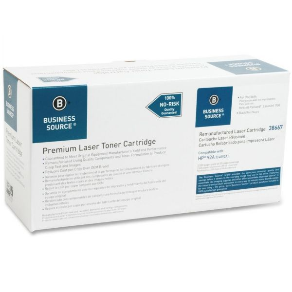 Business Source Remanufactured HP 92A Black Toner Cartridge
