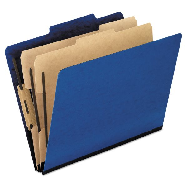 Pendaflex Six-Section Colored Classification Folders, Legal, 2/5 Tab, Blue, 10/Box