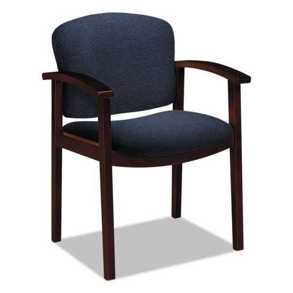 HON 2111 Invitation Reception Series Wood Guest Chair, Mahogany/Solid Blue Fabric