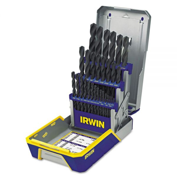 IRWIN 29-Piece Black Oxide Industrial Drill Bit Set, w/Case