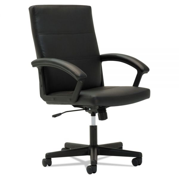OIF Executive Mid-Back Leather Office Chair with Fixed Curved Loop Arms