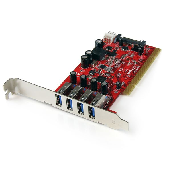StarTech.com 4 Port PCI SuperSpeed USB 3.0 Adapter Card with SATA/SP4 Power