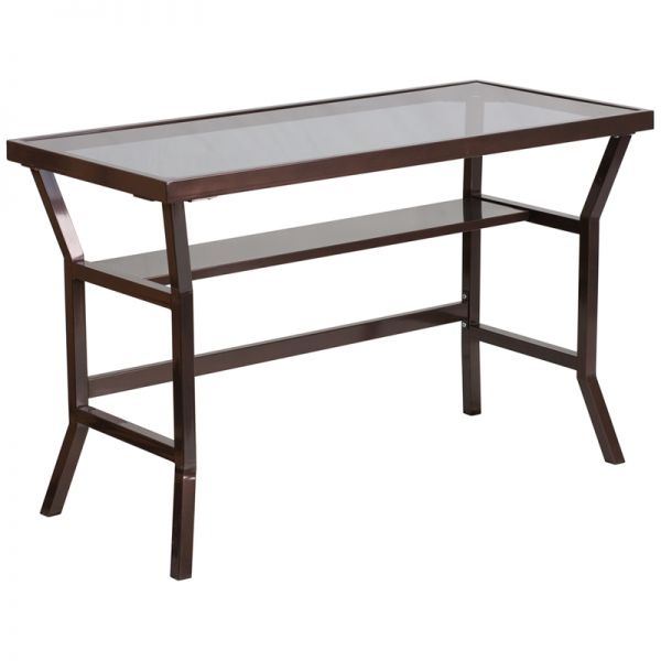 Flash Furniture Contemporary Desk with Dark Gray Tempered Glass