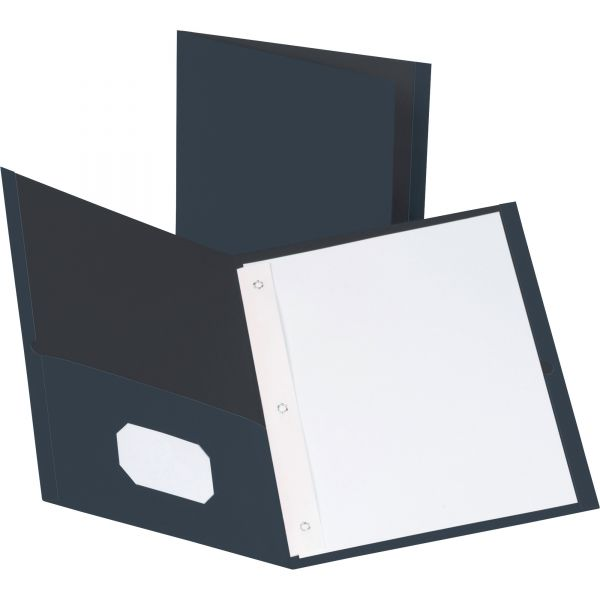 Business Source Dark Blue Two Pocket Folders with Fasteners