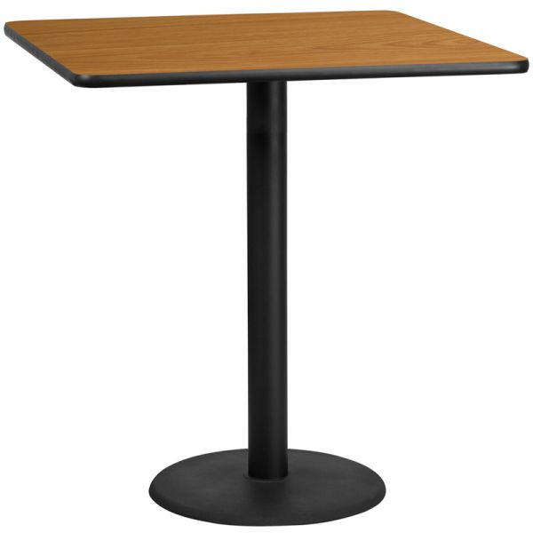 Flash Furniture 42'' Square Natural Laminate Table Top with 24'' Round Bar Height Table Base