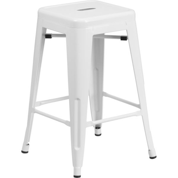 Flash Furniture Backless Metal Indoor-Outdoor Counter Height Stool